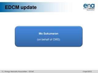EDCM update
