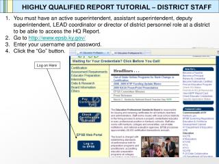 HIGHLY QUALIFIED REPORT TUTORIAL – DISTRICT STAFF