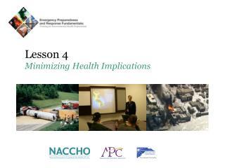 Lesson 4 Minimizing Health Implications
