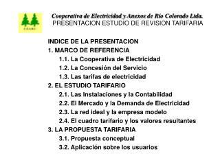 INDICE DE LA PRESENTACION 1. MARCO DE REFERENCIA 1.1. La Cooperativa de Electricidad