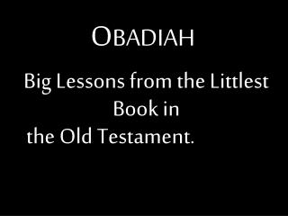 Big Lessons from the Littlest Book in   the Old Testament.