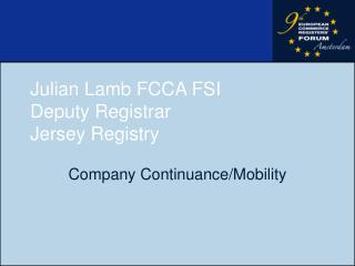 Julian Lamb FCCA FSI Deputy Registrar  Jersey Registry