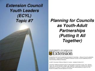 Extension Council Youth Leaders  (ECYL) Topic #7