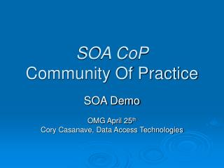 SOA CoP Community Of Practice