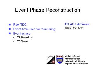 Event Phase Reconstruction
