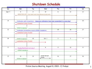 Shutdown Schedule