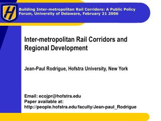 Inter-metropolitan Rail Corridors and Regional Development