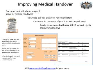 Improving Medical Handover