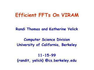 Efficient FFTs On VIRAM