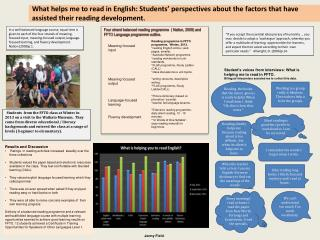 Four strand balanced reading programme  ( Nation, 2009) and FFTO Language programme outline.