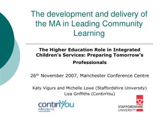 The development and delivery of the MA in Leading Community Learning