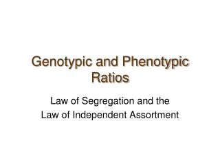 Genotypic and Phenotypic Ratios