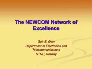 The NEWCOM Network of Excellence