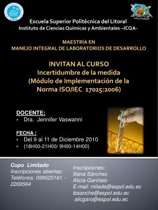 Escuela Superior Politécnica del Litoral  Instituto de Ciencias Químicas y Ambientales –ICQA-