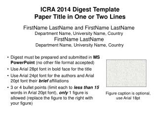 ICRA 2014 Digest Template Paper Title in One or Two Lines
