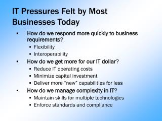 IT Pressures Felt by Most Businesses Today
