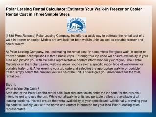 Polar Leasing Rental Calculator