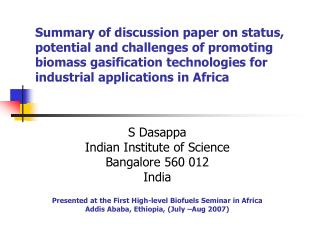 Summary of discussion paper on status, potential and challenges of promoting biomass gasification technologies for indus