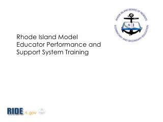 Rhode Island Model Educator Performance and Support System Training