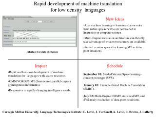 Rapid development of machine translation  for low density  languages