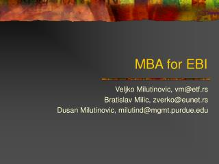 MBA for EBI