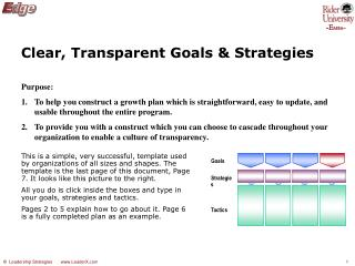 Clear, Transparent Goals & Strategies