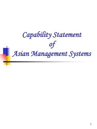 Capability Statement of Asian Management Systems