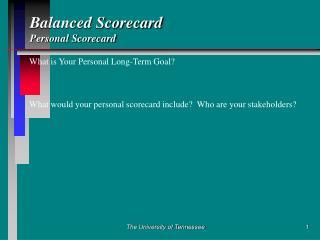 Balanced Scorecard Personal Scorecard