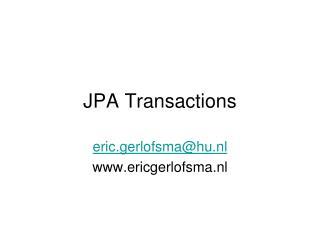 JPA Transactions