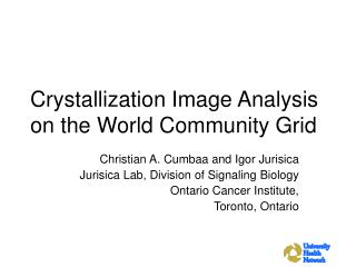 Crystallization Image Analysis on the World Community Grid
