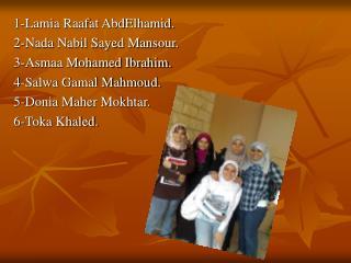 1-Lamia Raafat AbdElhamid. 2-Nada Nabil Sayed Mansour. 3-Asmaa Mohamed Ibrahim.