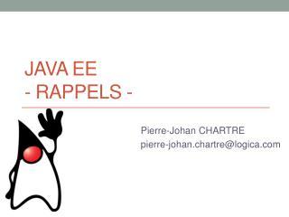 Java EE  -  Rappels -