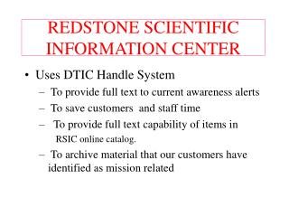 REDSTONE SCIENTIFIC INFORMATION CENTER