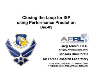 Closing the Loop for ISP using Performance Prediction Dec-05