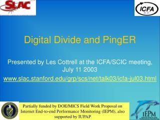 Digital Divide and PingER