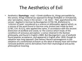 The Aesthetics of Evil