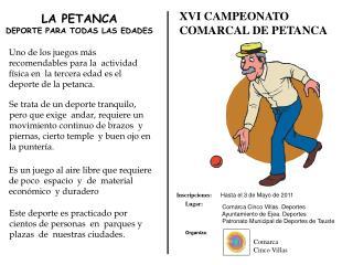 XVI CAMPEONATO  COMARCAL DE PETANCA