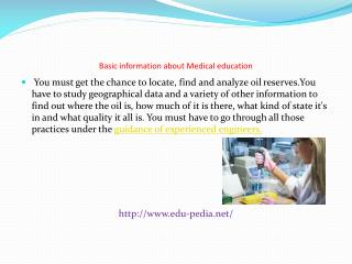 Basic information about Medical education