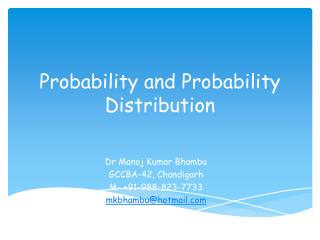 Probability and Probability Distribution
