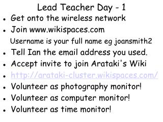 Lead Teacher Day - 1
