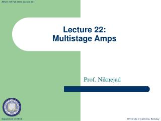 Lecture 22: Multistage Amps