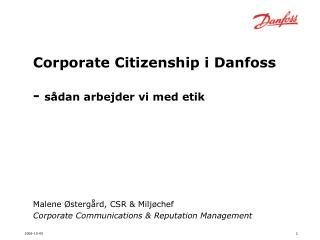 Corporate Citizenship i Danfoss -  sådan arbejder vi med etik
