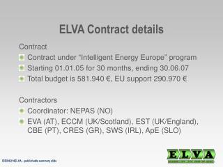 ELVA Contract details
