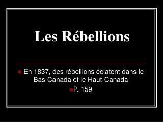 Les Rébellions