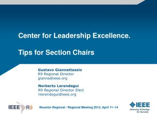 Center for Leadership Excellence. Tips for Section Chairs