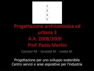 Progettazione architettonica ed urbana 3 A.A. 2008/2009 Prof. Paolo Merlini