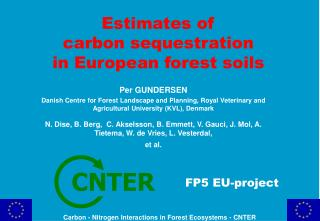 Estimates of  carbon sequestration  in European forest soils