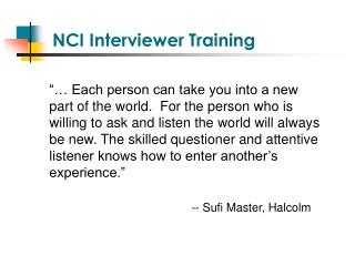 NCI Interviewer Training
