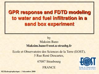 GPR response and FDTD modeling to water and fuel infiltration in a sand box experiment