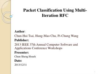 Packet Classification Using Multi-Iteration RFC